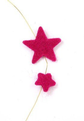 Felt stars on wire - fuchsia 270 cm