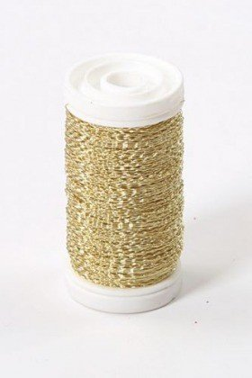 Floral copper wire, on spool, 75g - gold