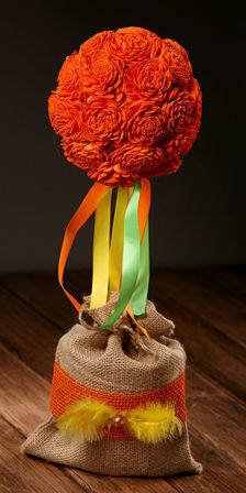 Flower ball in flower pot - orange 35-40 cm