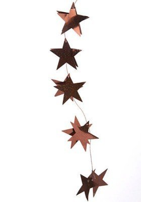 Garland brown stars on wire 150 cm