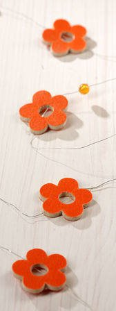 Garland of flowers and pearls orange 180 cm
