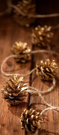 Garland of gold cones 200cm