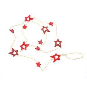 Garland red stars on string 180 cm