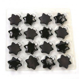 Glass balls - black stars, 3,5 cm, 16 pcs/pkg