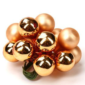 Glass balls on wire, 15 mm, gold, bunch of 18 pcs, mat/glittered