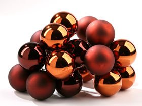 Glass balls on wire, 20-30 mm, brown, bunch of 18 pcs, mat/glittered