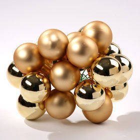 Glass balls on wire, 20-30 mm, gold, bunch of 18 pcs, mat/glittered