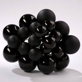 Glass balls on wire, 20-30 mm, shades of black, bunch of 18 pcs, mat/glittered