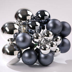 Glass balls on wire, 20-30 mm, silver-grey, bunch of 18 pcs, mat/glittered