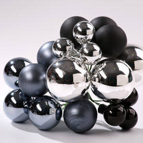 Glass balls on wire, 20-30 mm, silver-pewter-black, bunch of 18 pcs, mat/glittered