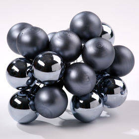 Glass balls on wire, 20mm, pewter, bunch of 18 pcs, mat/glittered