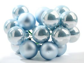 Glass balls on wire, 20mm, white, bunch of 18 pcs, mat/glittered