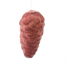 Glittered cone hanging, 18 cm, red