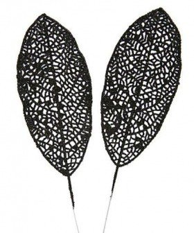 Glittered leaf, 25 cm, black