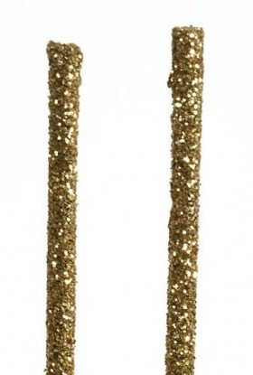 Glittered sticks, 30 cm, 12 pcs/pkg, gold