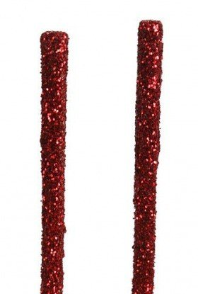 Glittered sticks, 30 cm, 12 pcs/pkg, red