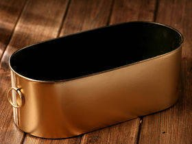 Gold tin flower pot, winter collection 25 cm