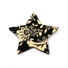 Hanger, Black wooden decorative star with golden ornaments 8 cm