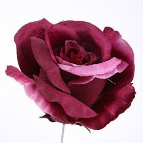 Head of rose, 11,5 cm, sateen - purple