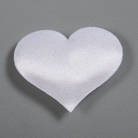 Hearts of white satin 24 pcs/pkg 30 mm