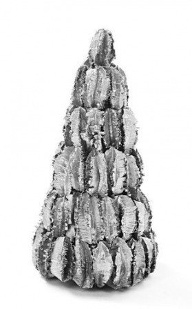 Husk Christmas tree, 30 cm high, silver lacquered