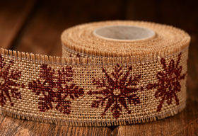 Jute Ribbon 4cm/3 yd brown Snowflakes