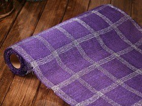 Jute fabric thick (320 g/m2) 50 cm x 5 m - pattern, purple