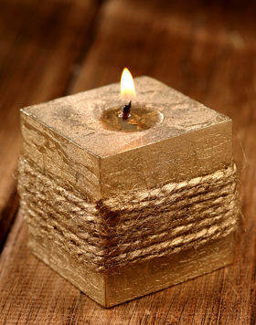 Jute gold candle 60 mm