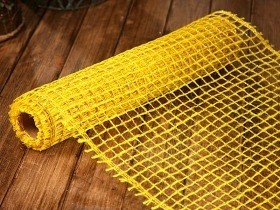 Jute net 50 cm x 5 m with gold thread - yellow