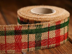 Jute ribbon 4 cm / 3 yd checked