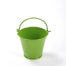 Metal bucket 6.5 x 6.5 cm, green