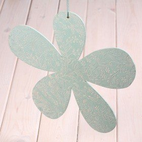 Metal light blue flower 30cm