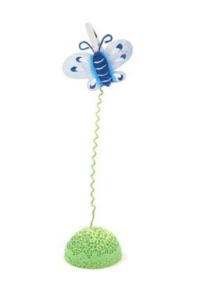 Metal rack with blue butterfly