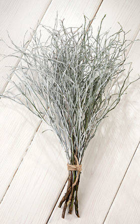 Natural twigs of bilberries, bunch of 8-10 twigs, length ca. 30 cm, white