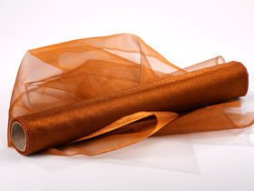 Organza  FP, trimmed, width 40cm, length 9m - brown, PROMOTION