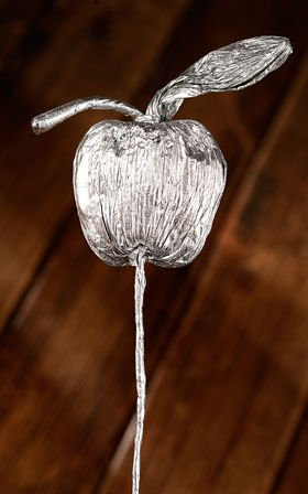 Paper apple on pick, 35 cm, silver