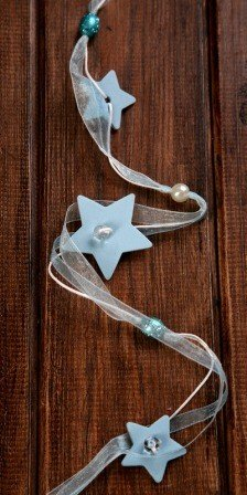 Pearl garland light blue 120cm