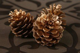Pine cone, golden 12 pcs/ pkg