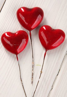 Pins - red hearts 12 pcs/pkg