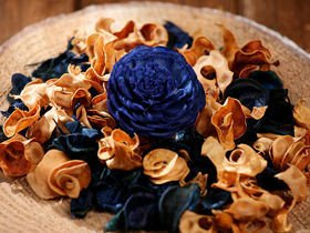 Potpourri set in pouch - cream-navy blue