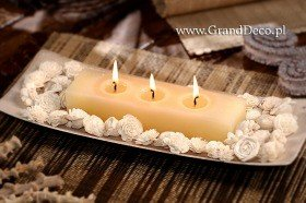 Potpourri set with candle - white flowers