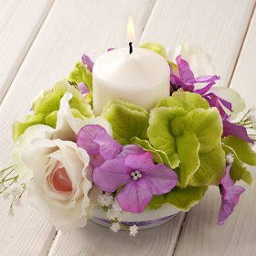 Purple-cream-green composition with candle 15/15 cm