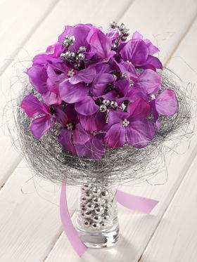 Purple-silver durable bouquet in a glass dish with pearls 20-25 cm