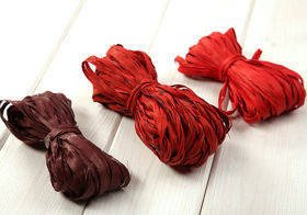 Raffia 3x 15m / W:2cm RED-BROWN-CLARET