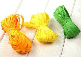 Raffia 3x 15m / W:2cm YELLOW-GREEN-ORANGE (mix 8)
