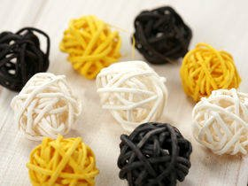 Rattan balls, diameter 2-3 cm, 12 pcs/pkg, anthracite-cream-yellow