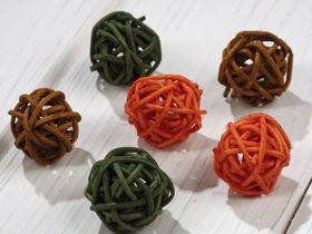 Rattan balls, diameter 2-3 cm, 12 pcs/pkg, orange-green-brown