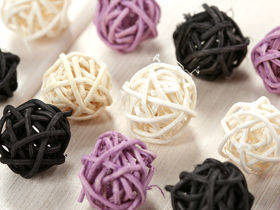 Rattan balls, diameter 2-3 cm, 12 pcs/pkg, purple-cream-violet