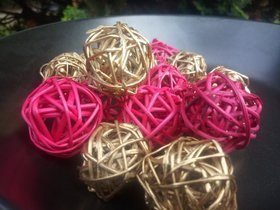 Rattan balls, diameter 2-3 cm, red, 12 pcs/pkg