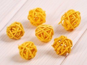 Rattan balls, diameter 2-3 cm, yellow, 12 pcs/pkg